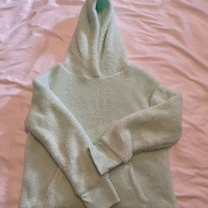 Mint color cropped fuzzy hoodie, front pocket, size 10-12